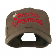 Season's Greetings with Snowflake Embroidered Cap - Brown