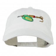 Fishing Green Spinner Embroidered Washed Cap - White