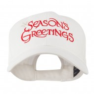 Season's Greetings with Snowflake Embroidered Cap - White