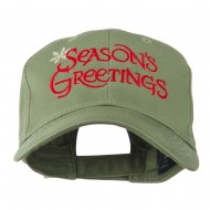 Season's Greetings with Snowflake Embroidered Cap - Olive