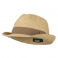 Big Size Braided Straw Fedora with Grosgrain Ribbon - Natural