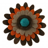 3 Layers Gerber Style Large flower Hair Pin and Clip - Brown Orange