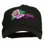 USA State Georgia Flower Embroidered Organic Cotton Cap - Black