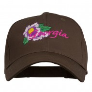 USA State Georgia Flower Embroidered Organic Cotton Cap - Brown