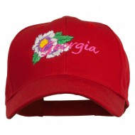 USA State Georgia Flower Embroidered Organic Cotton Cap - Red