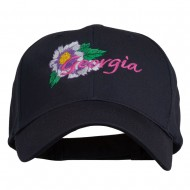USA State Georgia Flower Embroidered Organic Cotton Cap - Navy