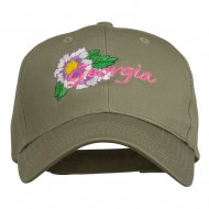 USA State Georgia Flower Embroidered Organic Cotton Cap - Olive