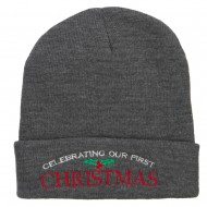 Celebrating First Christmas Embroidered Long Beanie - Dk Grey