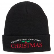 Celebrating First Christmas Embroidered Long Beanie - Black
