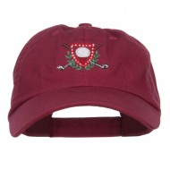 Golf Ball Tee Crest Embroidered Cap - Wine