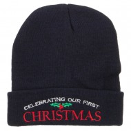 Celebrating First Christmas Embroidered Long Beanie - Navy