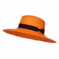 Grosgrain Band Straw Boat Hat - Apricot
