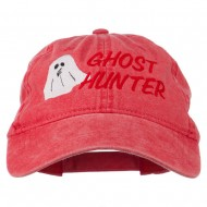 Halloween Ghost Hunter Embroidered Washed Dyed Cap - Red