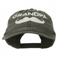 Grandpa Mustache Embroidered Washed Pigment Dyed Cap - Black
