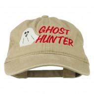 Halloween Ghost Hunter Embroidered Washed Dyed Cap - Khaki