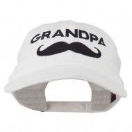 Grandpa Mustache Embroidered Washed Pigment Dyed Cap - White