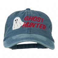 Halloween Ghost Hunter Embroidered Washed Dyed Cap - Navy