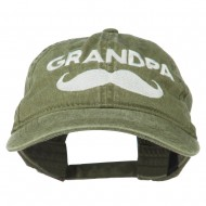Grandpa Mustache Embroidered Washed Pigment Dyed Cap - Olive