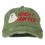 Halloween Ghost Hunter Embroidered Washed Dyed Cap - Olive Green