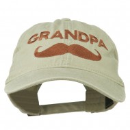 Grandpa Mustache Embroidered Washed Pigment Dyed Cap - Stone