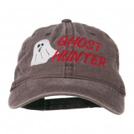 Halloween Ghost Hunter Embroidered Washed Dyed Cap - Brown