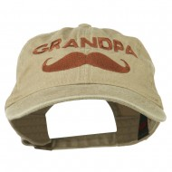 Grandpa Mustache Embroidered Washed Pigment Dyed Cap - Khaki