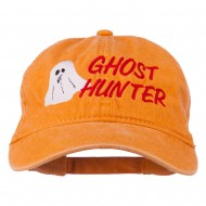 Halloween Ghost Hunter Embroidered Washed Dyed Cap - Orange