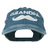 Grandpa Mustache Embroidered Washed Pigment Dyed Cap - Navy