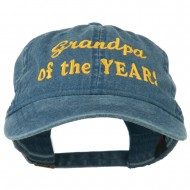 Grandpa of the Year Embroidered Washed Cotton Cap - Navy