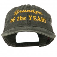 Grandpa of the Year Embroidered Washed Cotton Cap - Black