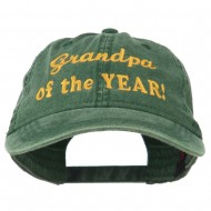 Grandpa of the Year Embroidered Washed Cotton Cap - Dark Green