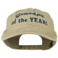 Grandpa of the Year Embroidered Washed Cotton Cap - Khaki