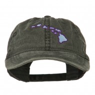 Hawaii State Map Embroidered Washed Cap - Black