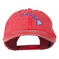 Hawaii State Map Embroidered Washed Cap - Red