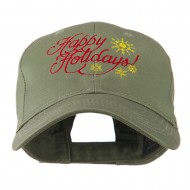 Christmas Happy Holidays Snow Flakes Embroidered Cap - Olive