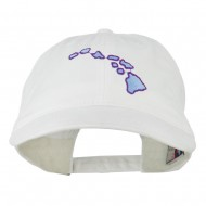 Hawaii State Map Embroidered Washed Cap - White