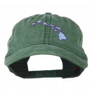Hawaii State Map Embroidered Washed Cap - Dark Green