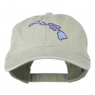 Hawaii State Map Embroidered Washed Cap - Stone Grey