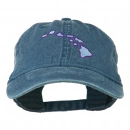 Hawaii State Map Embroidered Washed Cap - Navy