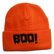 Halloween Boo Sign Embroidered Cuff Beanie - Orange
