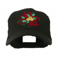 Christmas Holly with Bells Embroidered Cap - Black