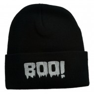 Halloween Boo Sign Embroidered Cuff Beanie - Black