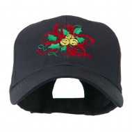Christmas Holly with Bells Embroidered Cap - Navy
