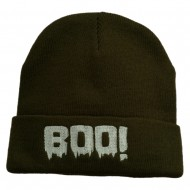 Halloween Boo Sign Embroidered Cuff Beanie - Olive