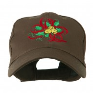 Christmas Holly with Bells Embroidered Cap - Brown