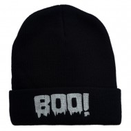 Halloween Boo Sign Embroidered Cuff Beanie - Navy