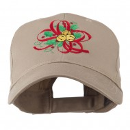 Christmas Holly with Bells Embroidered Cap - Khaki