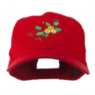 Christmas Holly with Bells Embroidered Cap - Red