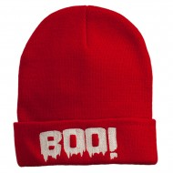 Halloween Boo Sign Embroidered Cuff Beanie - Red