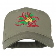 Christmas Holly with Bells Embroidered Cap - Olive